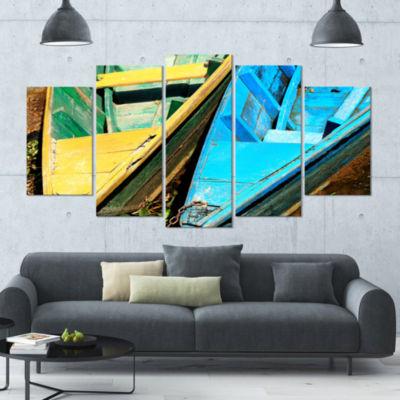 Designart Wooden Boats On Lake Phewa Boat Large Canvas Art Print - 5 Panels