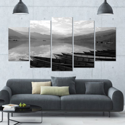 Designart Boats Lined Up On Pokhara Lake Boat Large Canvas Art Print - 5 Panels