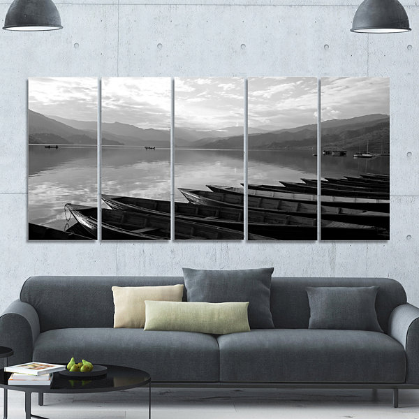 Designart Boats Lined Up On Pokhara Lake Boat Canvas Art Print - 5 Panels