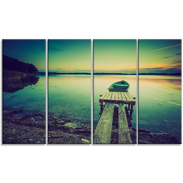 Designart Pier And Boat In Vintage Lake Boat Canvas Art Print - 4 Panels