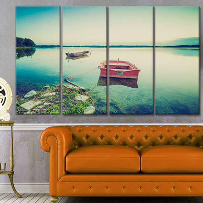 Designart Boat And Wooden Pier In Lake Boat CanvasArt Print- 4 Panels