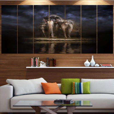 Designart Elephants Watering In The River AnimalLarge Canvas Wall Art - 5 Panels