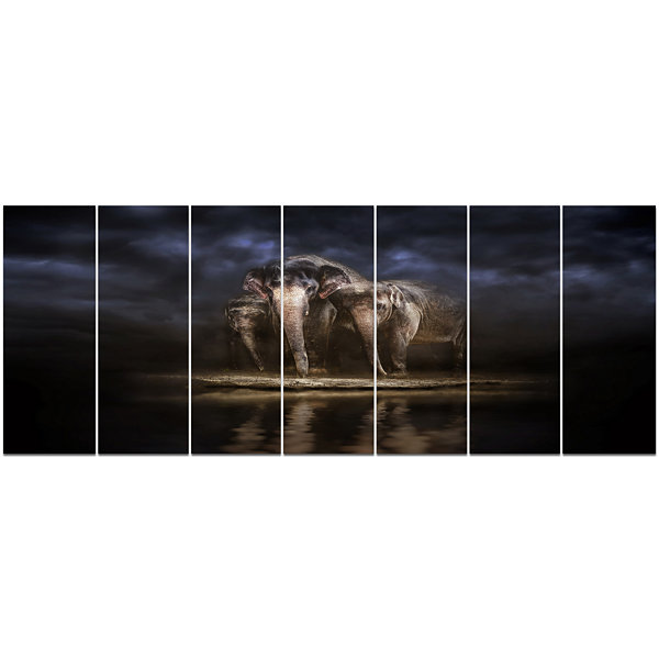Designart Elephants Watering In The River AnimalCanvas Wall Art - 7 Panels