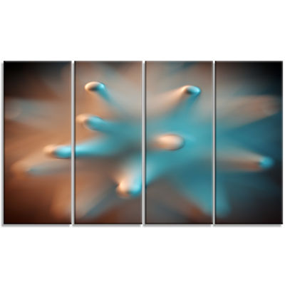 Designart Blue Macro Prickly Texture Abstract Canvas Wall Art - 4 Panels