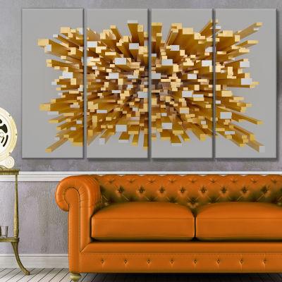 Designart Golden Fragments 3D Design Abstract Canvas Wall Art - 4 Panels