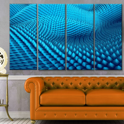 Abstract Blue Wavy Background Abstract Canvas WallArt - 4 Panels