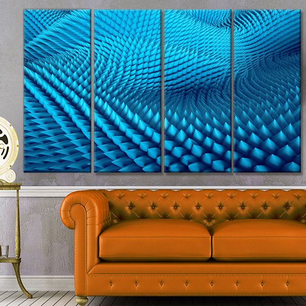 Designart Abstract Blue Wavy Background AbstractCanvas Wall Art - 4 Panels