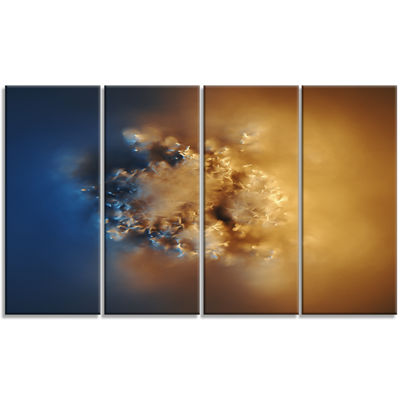 Designart Small Macro Prickly Texture Brown Abstract CanvasWall Art - 4 Panels