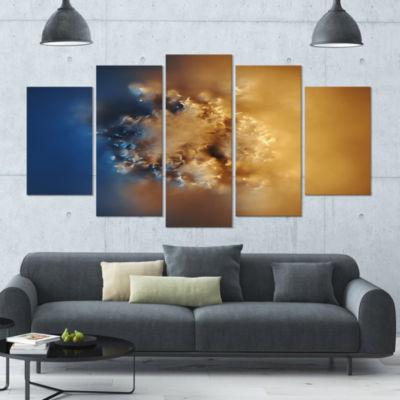 Designart Small Macro Prickly Texture Brown Abstract CanvasWall Art - 5 Panels