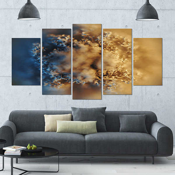Designart Large Macro Prickly Texture Brown Abstract CanvasWall Art - 4 Panels