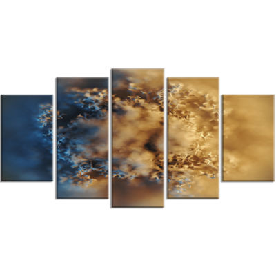 Large Macro Prickly Texture Brown Contemporary Canvas Wall Art - 5 Panels