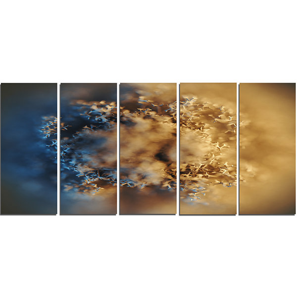 Design Art Large Macro Prickly Texture Brown Abstract CanvasWall Art - 5 Panels