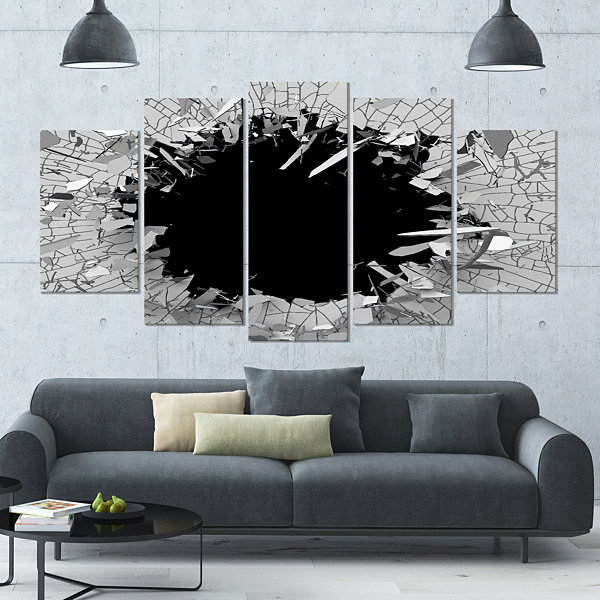 Designart Contemporary Broken Wall 3D Design Contemporary Canvas Wall Art - 5 Panels