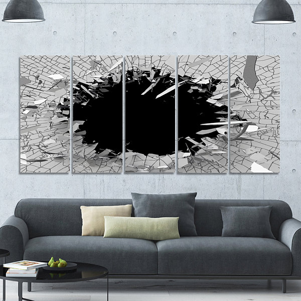 Design Art Abstract Broken Wall 3D Design AbstractCanvas Wall Art - 5 Panels