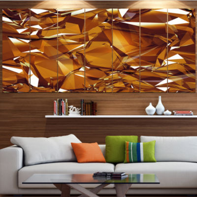 Designart 3D Gold Crystal Background Gold AbstractCanvas Wall Art - 5 Panels