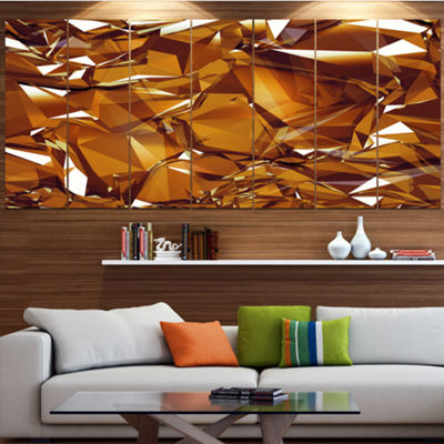 Designart 3D Gold Crystal Background Abstract Canvas Wall Art - 6 Panels