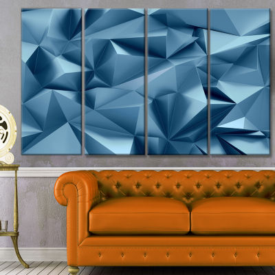 Designart 3D Abstract Geometric Background Abstract Canvas Wall Art - 4 Panels