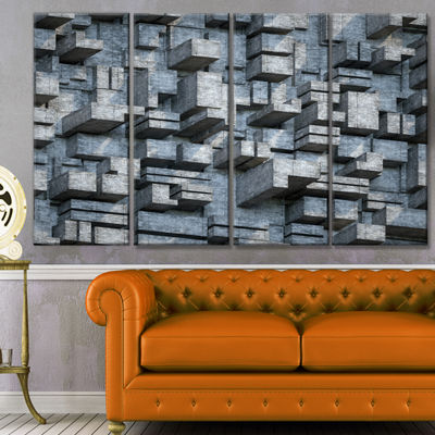 Designart Black Abstract Geometric Background Abstract Canvas Wall Art - 4 Panels
