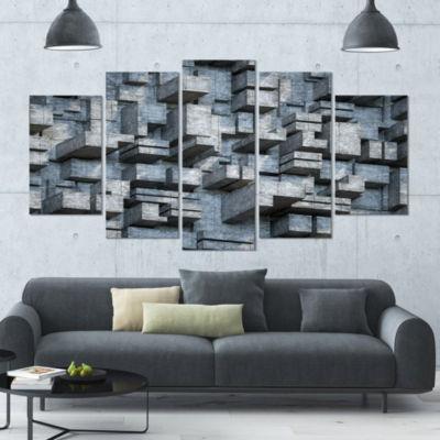 Designart Black Abstract Geometric Background Contemporary Canvas Wall Art - 5 Panels