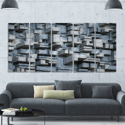 Designart Black Abstract Geometric Background Abstract Canvas Wall Art - 5 Panels