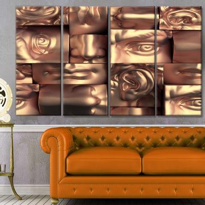 Designart Abstract Golden Blocks Abstract CanvasArt Print -4 Panels