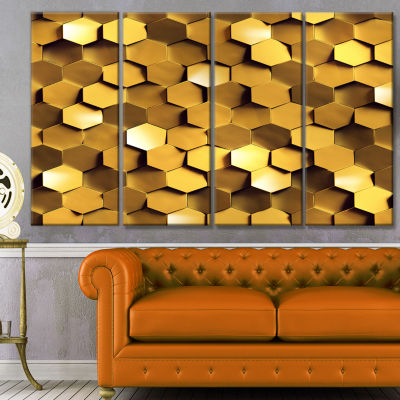 Designart Golden Honeycomb Wall Texture AbstractCanvas Art Print - 4 Panels