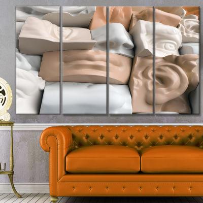 Designart Abstract Mannequin Blocks Abstract Canvas Art Print - 4 Panels