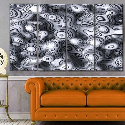 Designart 3D Abstract Wavy Bubbles Abstract CanvasArt Print- 4 Panels