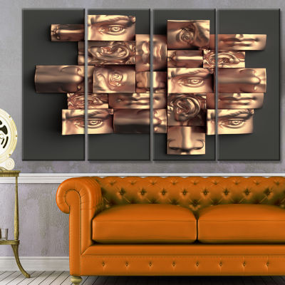 Designart Golden Black Abstract Design Abstract Canvas Art Print - 4 Panels