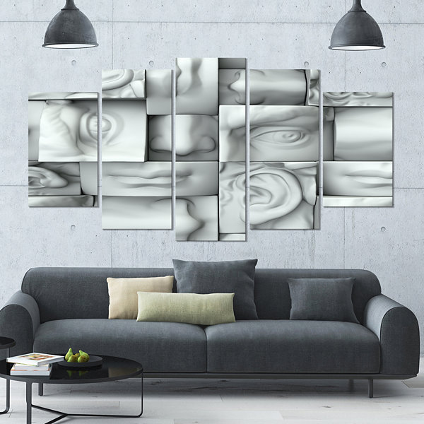 Design Art Abstract White Blocks Abstract Canvas Art Print -4 Panels