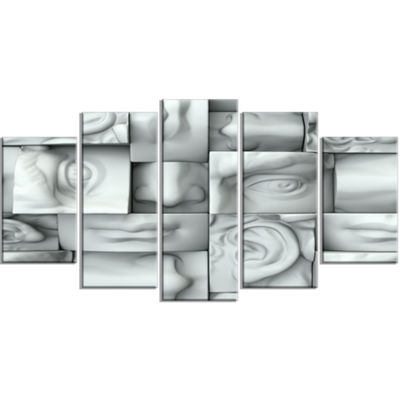 Designart Abstract White Blocks White Abstract Canvas Art Print - 5 Panels