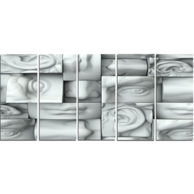 Abstract White Blocks Abstract Canvas Art Print -5 Panels