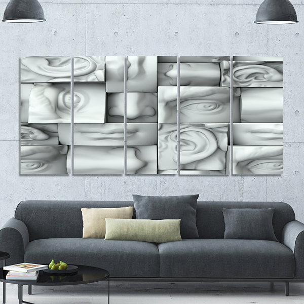 Design Art Abstract White Blocks Abstract Canvas Art Print -5 Panels