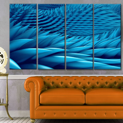 Abstract Blue Wavy Background Abstract Canvas ArtPrint - 4 Panels