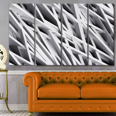 Designart White Geometric Abstract Canvas Art Print - 4 Panels