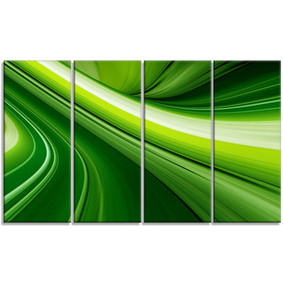 Designart Abstract Green Lines Background AbstractCanvas Art Print - 4 Panels