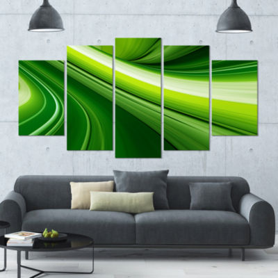 Designart Abstract Green Lines Background Green Abstract Canvas Art Print - 5 Panels