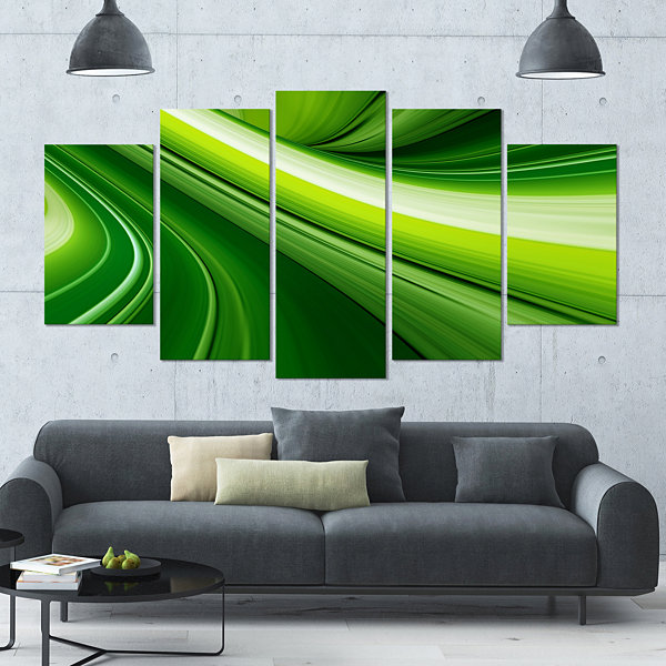 Design Art Abstract Green Lines Background Green Abstract Canvas Art Print - 5 Panels