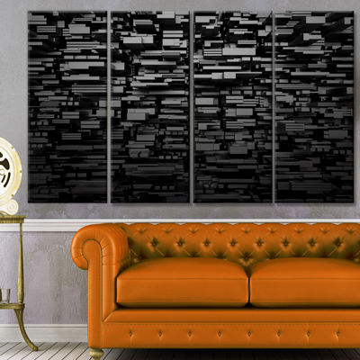 Designart Black 3D Geometric Background AbstractCanvas Art Print - 4 Panels
