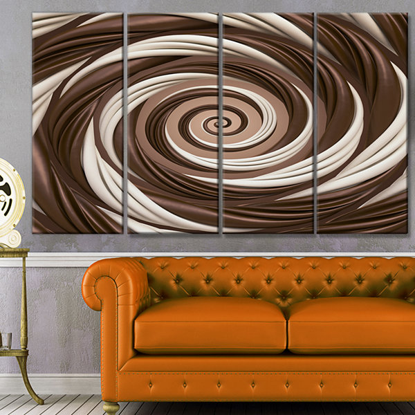 Design Art Chocolate And Milk Candy Spiral DesignAbstract Canvas Art Print - 4 Panels