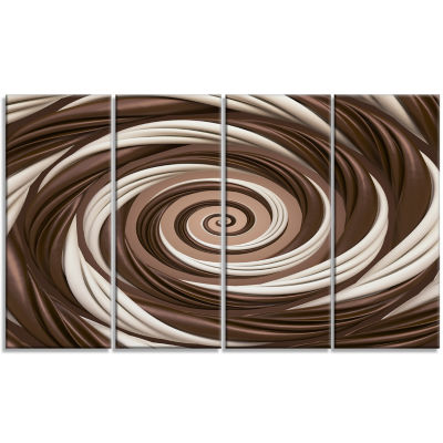 Chocolate And Milk Candy Spiral Design Abstract Canvas Art Print - 4 Panels