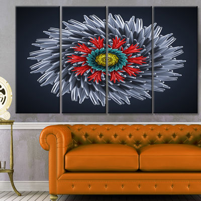 Designart Abstract Silver 3D Flower Abstract Canvas Art Print - 4 Panels