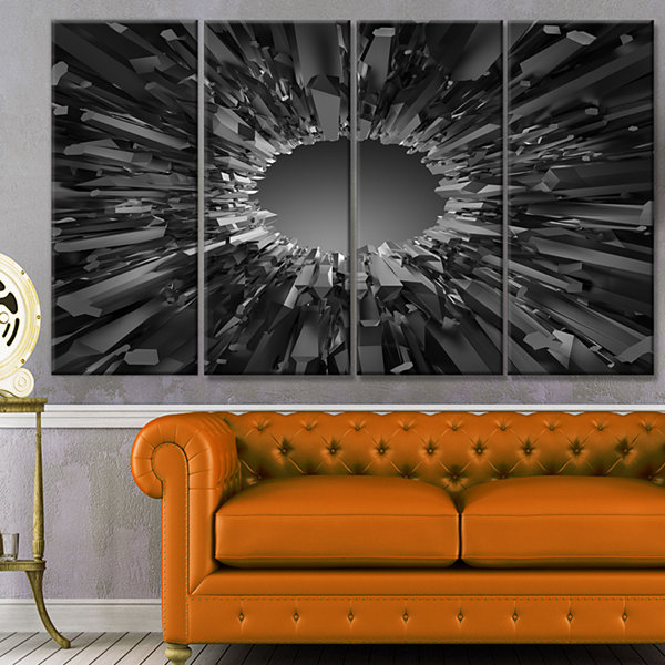 Design Art Futuristic Black Background Abstract Canvas Art Print - 4 Panels