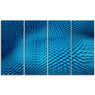 Wavy Blue Prickly Design Abstract Canvas Art Print- 4 Panels