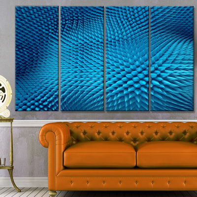 Designart Wavy Blue Prickly Design Abstract CanvasArt Print- 4 Panels