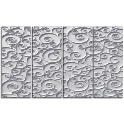 Designart Curly Paper Quilling Ribbons Abstract Canvas Art Print - 4 Panels