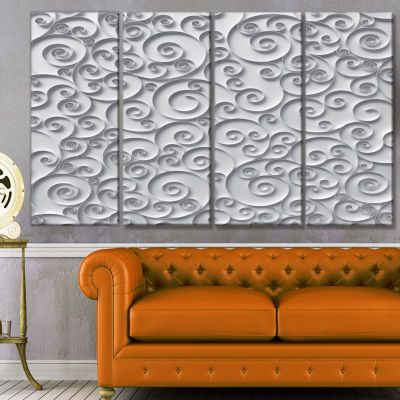 Curly Paper Quilling Ribbons Abstract Canvas Art Print - 4 Panels