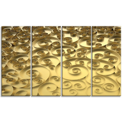 3D Golden Curly Background Abstract Canvas Art Print - 4 Panels