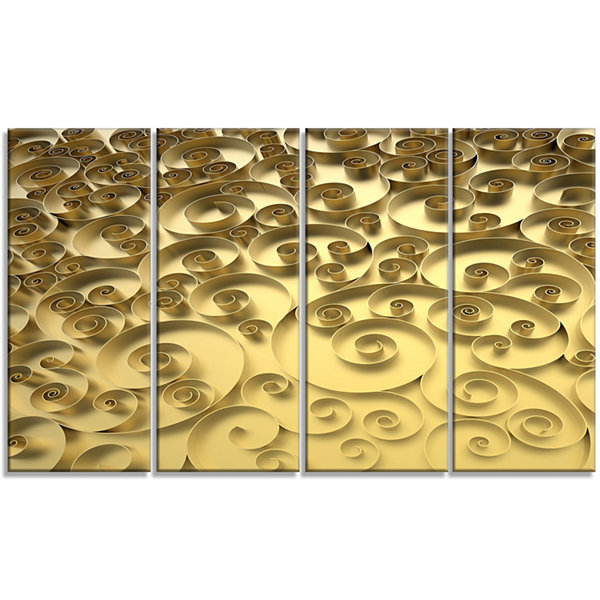 Designart 3D Golden Curly Background Abstract Canvas Art Print - 4 Panels