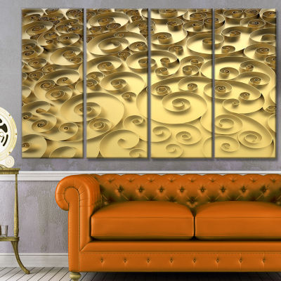 Design Art 3D Golden Curly Background Abstract Canvas Art Print - 4 Panels